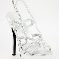 """Wedding Shoes Silver with 4 1/2"""" heels and 1"""" platform (Style 800-59)"""