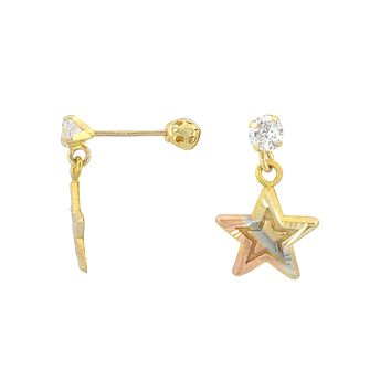 10k Gold Dangle Star Earrings with Screwbacks Tri Color Yellow White Rose Gold