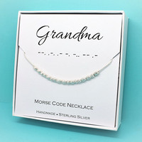 Gift for Grandmother necklace, Morse Code Grandma necklace Sterling Silver Grandma gift jewelry Mother's Day gift
