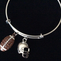 Football Expandable Silver Charm Bracelet Ball and Helmet Adjustable Wire Bangle Handmade Sports Gift Trendy