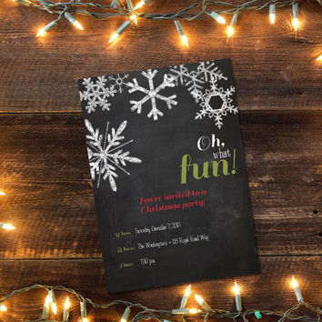 Printable Chalkboard Christmas Party invitation - Oh What Fun!