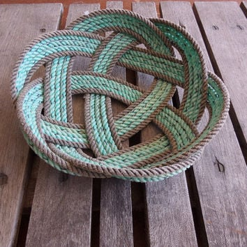 Knotted Rope Bread Basket Fruit Bowl Centerpiece Nautical Rustic 12 ""