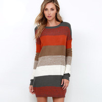 Autumn Winter Rainbow coloful Knit One Piece Dress long Sweatshirt a13277