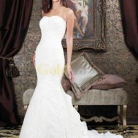 Simple White Strapless Sweetheart Mermaid Trumpet Satin Lace Wedding Dress