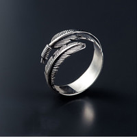 Free Shipping Vintage Feather Arrow Opening Rings for Women Thai Silver 925 Sterling Silver Fine Jewelry anel C254