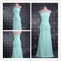 New Design A-line Strapless Chiffon Sexy Lace-up Beads Long Bridesmaid Dress Party Dress Evening Dress Prom Dress Formal Dress 2014