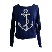 ANCHOR Raglan Sweatshirt  Nautical Sailor Sweater by friendlyoak