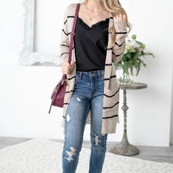 Mercy Pocketed Side Slit Striped Cardigan | Tan