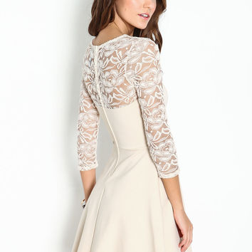SHEER LACE FLARE DRESS