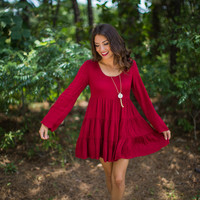 Crochet Back Dress in Burgundy