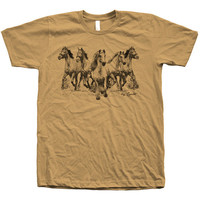 Mens Unisex Horse Screen Print on American Apparel Crew Neck Available: S, M, L, XL, XXL