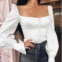 Winter Palace Puff Sleeve Off Shoulder Strap Front Breasted Blouse Top