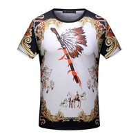Versace Man or Woman Fashion Casual Pattern Print Shirt Top Tee