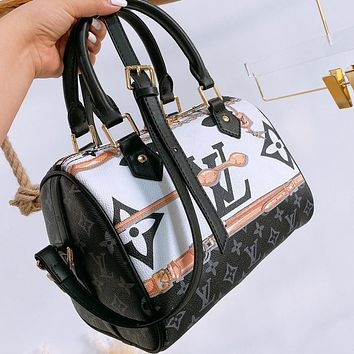 LV New fashion monogram print leather pillow shape handbag shoulder bag crossbody bag Black