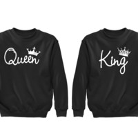 XtraFly Apparel Queen King Reina Rey Valentine's Matching Couples Pullover Crewneck-Sweatshirt