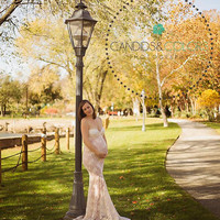 Lillian Maternity Gown, Lace,  Maternity Photography Prop, Maternity Prop, Belly Dress, Mermaid Gown, Gown with a train