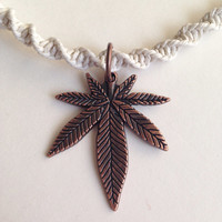 Necklace- White Hemp Cord Choker with Pot Leaf Charm