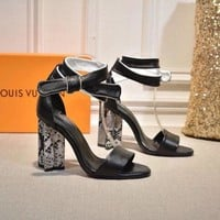 DCCK LV Louis Vuitton Women's Leather Silhouette High-heeled Sandals