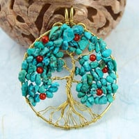 Turquoise and red carnelian gold-plated wire Tree of Life pendant