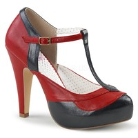 Pin Up Couture Bettie-29 Red and Black T-strap Heels