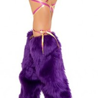 Purple Furry Leg Warmer Rave Clothing And Accessories