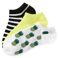 3-PACK PINEAPPLE, SOLID & STRIPE PED SOCKS
