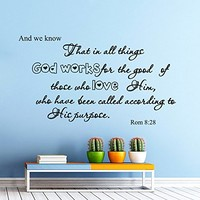 Wall Decals Quotes Bible Verse Psalm Romans 8:28 And We Know That Lord God Quote Vinyl Sticker Living Room Bedroom Decal Home Decor DA3576