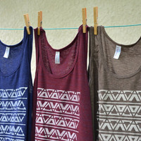 Tank Top - Light Brown with White Triangle Pattern - Sizes XS, S, M