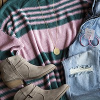 Audrey Striped Knit Sweater, Green/Pink