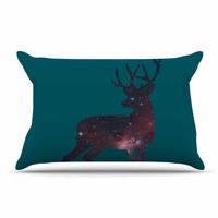 """Alias """"Deer In The Starlight"""" Teal Pink Pillow Case"""