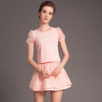 Mesh Short Sleeve Top with Mini A-Line Skater Skirt Set