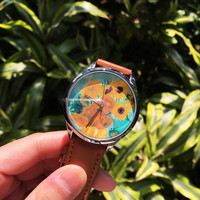 Sunflower Watch,Van Gogh Watch, Starry Night Watch, Vintage Style Leather Watch, Boyfriend Watch, Unisex Watch, Leather Watch Active
