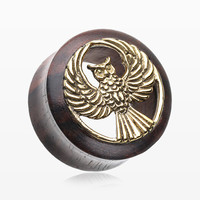 A Pair of Classic Golden Owl Sono Wood Ear Gauge Tunnel Plug