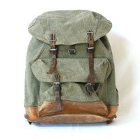 SWISS ARMY BACKPACK from 1966, Military Leather and Canvas Bag, 'Salt & Pepper', Large Rugged Men's Rucksack, Fishing, Hiking, Switzerland