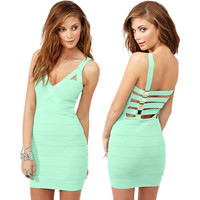 Women's Fashion Sexy V-neck Metal Backless Bandages Dress Prom Dress [4919869892]