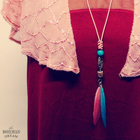 Bohemian Feather Necklace Long Layering Charm Pink Organic Leather Upcycled Recycled Jewelry Boho Hippie Eco Friendly by TheBohemianDream