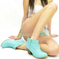 Surfside Cowgirl Mint Western Bootie Suede Boots Teal