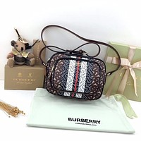 BURBERRY WOMEN'S TB CANVAS HANDBAG INCLINED SHOULDER BAG