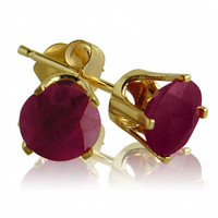 14K Yellow Gold 5mm Round Ruby Stud Earrings