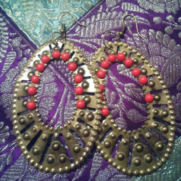 Tribal Filigree Ethnic Gypsy Hook Earrings Antique Gold Tone Metal Oval Shaped Dangle Hoop and Tiny Red Beads