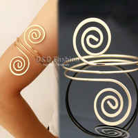 Victorian Filigree Swirl Gypsy Boho Armband Upper Arm Cuff Armlet Belly Dance Jewelry