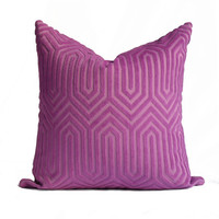 Eileen Kathryn Boyd Maestro Pillow Cover in Hyacinth - SAME Fabric BOTH Sides - Invisible Zipper