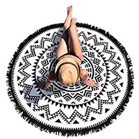 Rumas® Round Hippie Tapestry Beach Throw Roundie Mandala Towel Yoga Mat Bohemian Featur