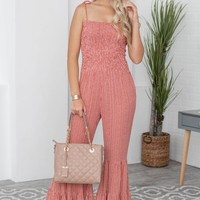 Bell Bottom Tiered Strappy Jumpsuit