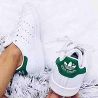 Adidas Stan smith men and women casual fashion sneakers F  White+Green