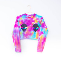 Tie Dye Long Sleeve Crop Top Alien Festival Plur Edm Ibiza Hipster Pastel Goth Tumblr 90s Grunge Blogger Summer S/M/L/XL