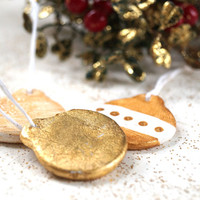Flat White and Gold Ornaments, Set of 3 Christmas Tree Ornaments,Polymer Clay Handmade Tree Decorations