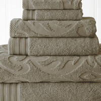 Quick Dry Cotton Towel Set 6 Piece Jacquard (Taupe)