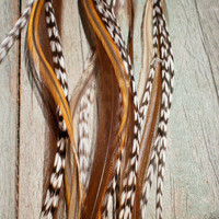 Feather Hair Extension- LONG 5 feather 5 dollars. black tan