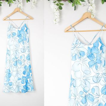 Vintage Blue Hawaiian Mini Dress